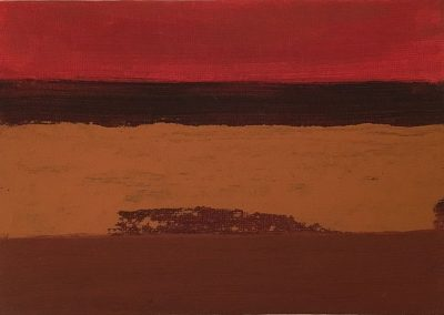 Crimson horizon, acrylic on canvas board, 18x13cm sold