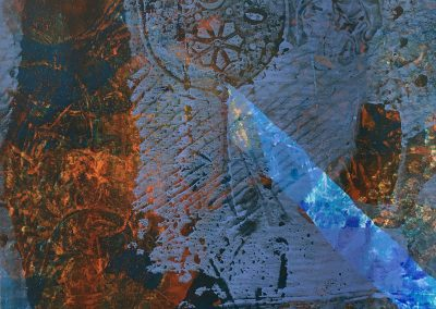 Blue 2, Monoprint, acrylic on paper.