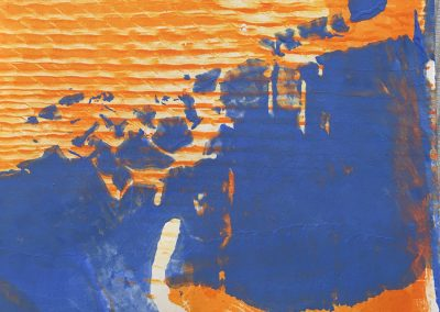 Orange on Blue, Monoprint, acrylic on paper.
