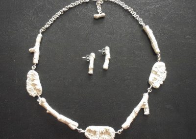 Necklace and earrings set, sand casted Sterling Silver