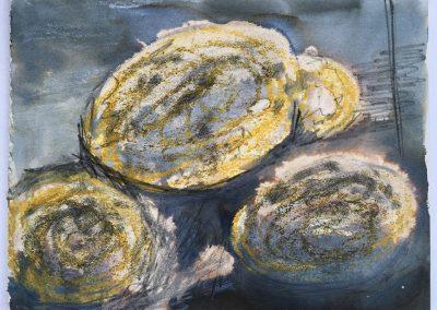 Stones, mixed media on paper, 15x12cm